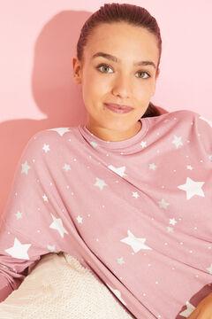 Womensecret Long lilac star pyjamas pink
