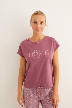 Womensecret Short-sleeved cotton pyjamas in maroon pink