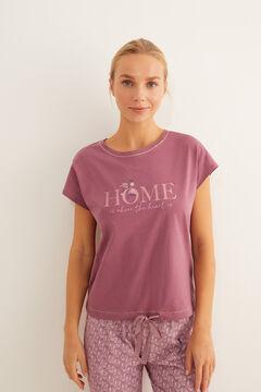 Womensecret Pyjama coton manches courtes grenat rose