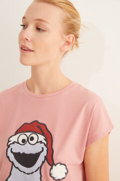 Womensecret Pink, short-sleeved Cookie Monster pyjamas printed