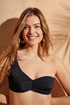 Womensecret Asymmetric black draped bikini top black