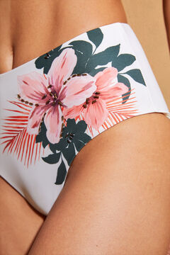 Womensecret White floral high bikini bottoms beige