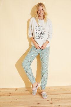Womensecret Long ivory fleece Snoopy pyjamas beige