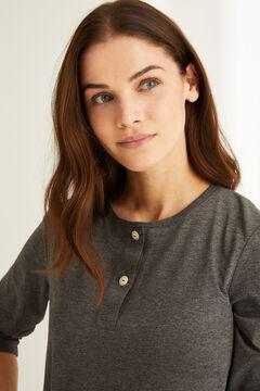 Womensecret T-shirt serafino manches longues coton gris gris