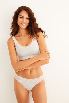 Womensecret Seam-free lace crop top grey