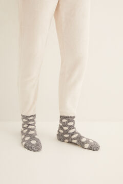 Womensecret Non-slip cosy ankle socks polka dots  grey