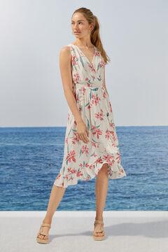 Womensecret Robe longue florale volants durable nude