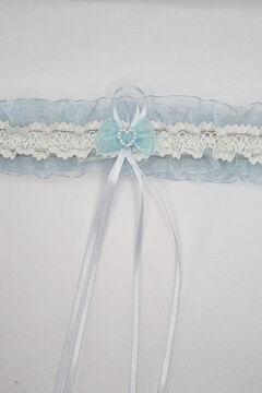 Womensecret Liga Ivette Bridal tul y encaje detalle corazón azul