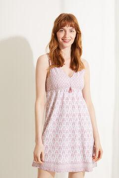 Womensecret Camisa de dormir curta 100% algodão sustentável rosa impressão