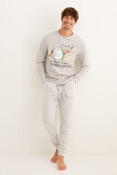 Womensecret Pijama largo hombre Asterix y Obelix gris gris