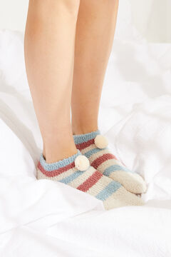 Womensecret Fluffy multicoloured stripe ankle socks printed