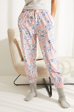 Womensecret Pink floral cotton jogger bottoms brown
