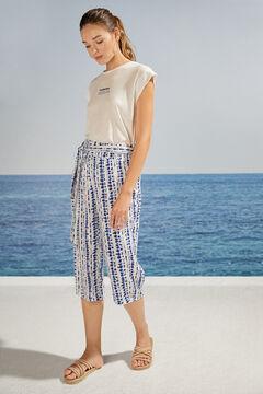 Womensecret Blue tie dye print capri pyjama bottoms white