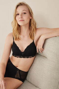 Womensecret Triangular mesh and lace bra black