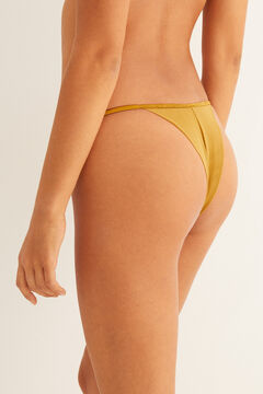 Womensecret Textured strappy tanga with mesh printed