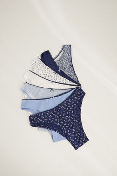 Womensecret Pack 7 braguitas brasileñas algodón azul