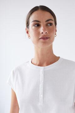 Womensecret White cotton short-sleeved Henley T-shirt printed
