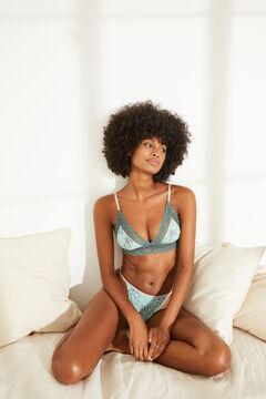 Womensecret NATURAL Green lace triangle bra blue