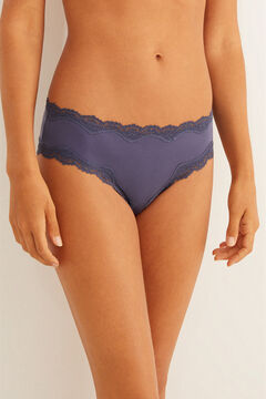 Womensecret Lace detail microfibre boyshort Brazilian panty blue