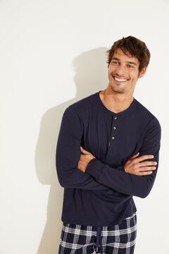 Womensecret Pijama largo azul algodón azul