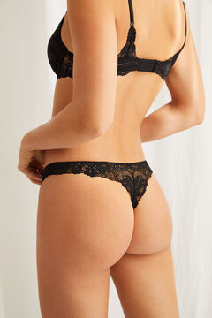 Womensecret Black lace and microfibre tanga black