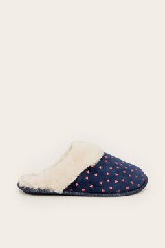 Womensecret Velvet heart slingback slipper blue