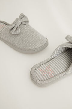 Womensecret Plumetis shower sliders with bow grey
