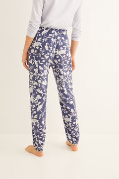 Womensecret Long pyjama bottoms with navy blue print blue