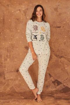 Womensecret Long cotton Harry Potter houses pyjamas grey