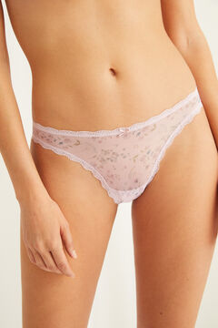Womensecret Pink tulle Brazilian panty with lace pink