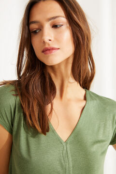 Womensecret Green linen V-neck top beige