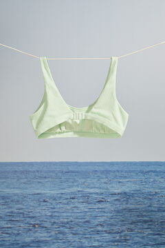 Womensecret Mint green ribbed halterneck bikini top green