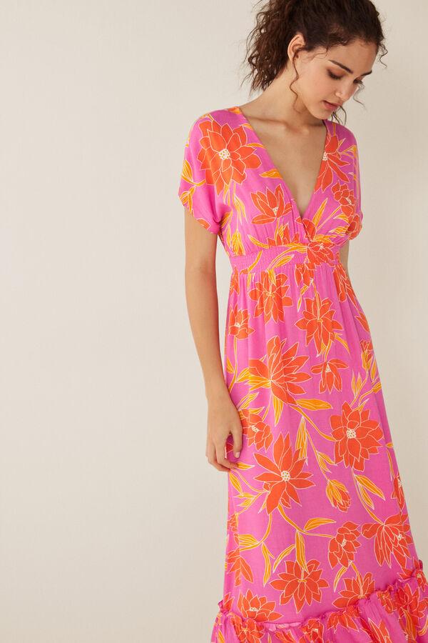8c773ad9a20 Womensecret Vestido largo estampado flores rosa