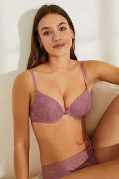 Womensecret GORGEOUS Dark pink lace push-up bra printed
