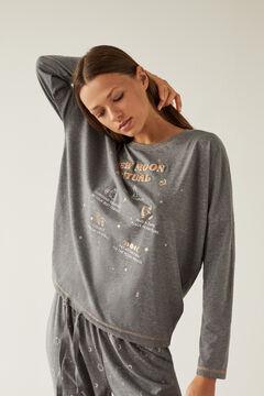 Womensecret Long grey 100% organic cotton pyjamas with moon design grey