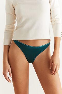 Womensecret Logo microfibre Brazilian panty green