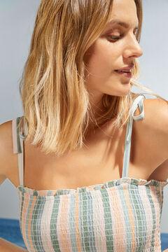 Womensecret Striped tie midi dress white
