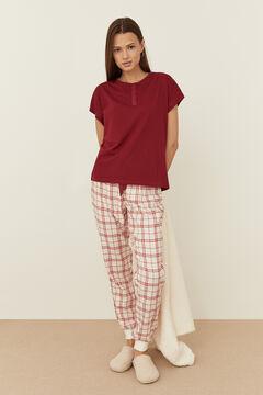 Womensecret Red cotton short-sleeved Henley top burgundy