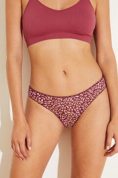 Womensecret Printed purple Brazilian panty pink