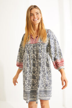 Womensecret  Vestido camisón corto manga larga estampado floral  gris