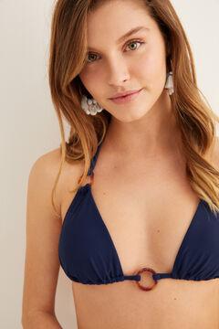 Womensecret Haut de bikini uni anneaux bleu