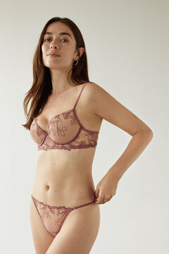 Womensecret Classic pink floral embroidered padded bra pink