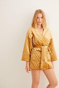 Womensecret Short quilted velvet robe printed