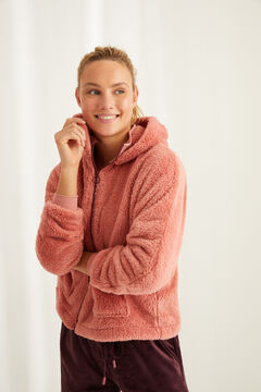 Womensecret Short pink spongy fleece robe pink