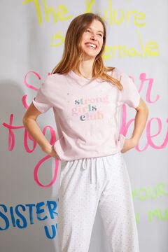 Womensecret Pijama largo manga corta algodón orgánico rosa blanco