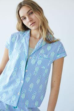 Womensecret Long striped cotton pyjamas blue