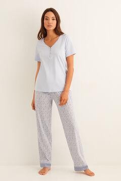 Womensecret Long border print pyjamas blue