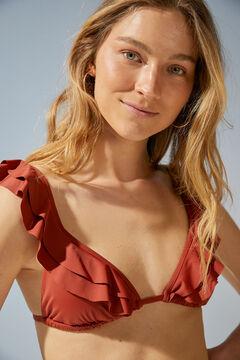 Womensecret Red flounced bikini top nude
