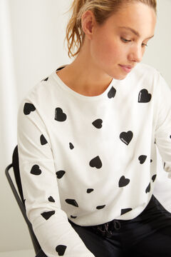 Womensecret Long cotton hearts pyjamas white