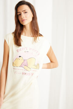 Womensecret Yellow cotton Winnie the Pooh short-sleeved midi nightgown printed